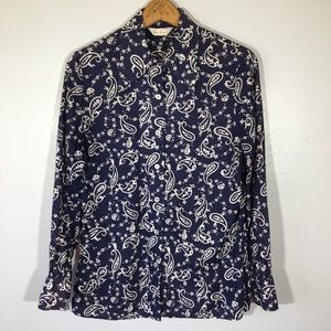 Vintage Paisley Button Shirt Pointy Large Collar